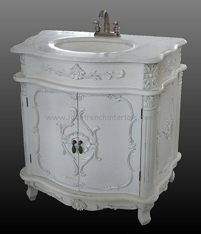 Antique white sink vanity unit for Antique bathroom vanity units